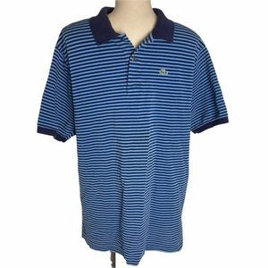 LACOSTE Men's Striped Navy/Blue Polo Casual Button Up Shirt Size 7 - Pre-Owned